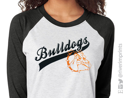 BULLDOGS Glittery Womens Bulldog School Mascot Blend Raglan Shirt