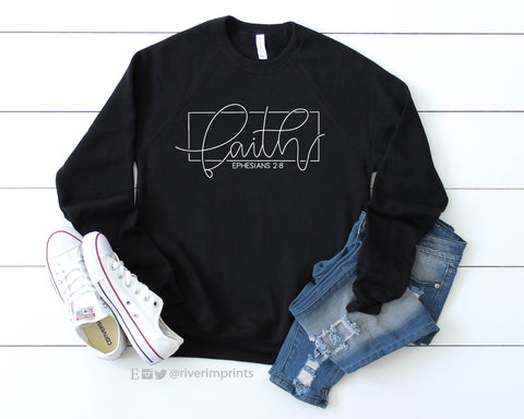 FAITH Ephesians 2:8 Graphic Fleece Raglan Sweatshirt