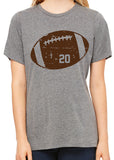 DISTRESSED FOOTBALL NUMBER Personalized Triblend T-shirt River Imprints