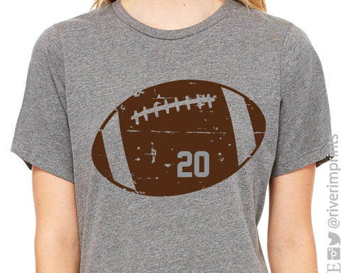 DISTRESSED FOOTBALL NUMBER Personalized Triblend Tee River Imprints