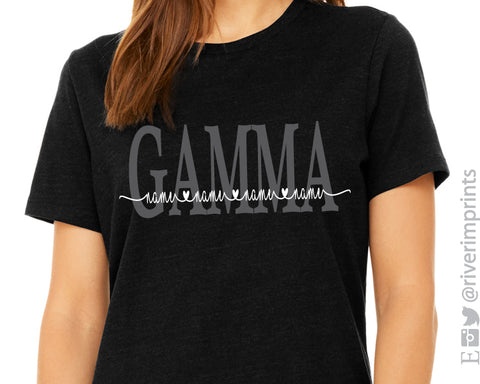 GAMMA HEART NAMES Personalized Triblend Tee