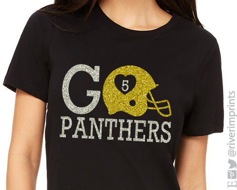 FOOTBALL Personalized Fan T-shirt, sparkly 2 Color glitter shirt