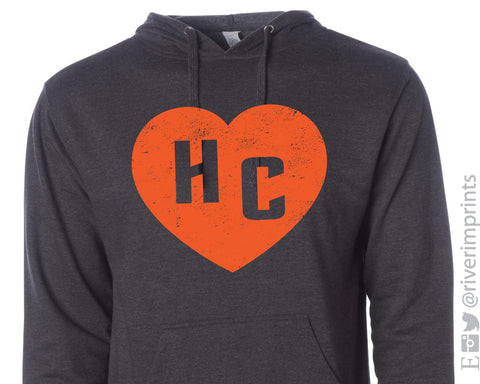 HC HEART DISTRESSED Hoodie Bulldogs School Mascot Lightweight Hooded Tee Shirt