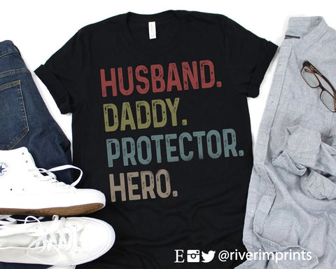 HUSBAND DADDY PROTECTOR HERO Blend Tee Shirt