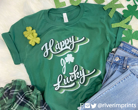 HAPPY GO LUCKY Graphic Triblend Tee