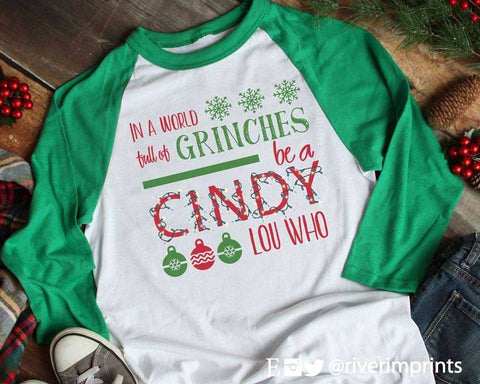 IN A WORLD FULL OF GRINCHES Christmas Graphic Raglan Tee Shirt