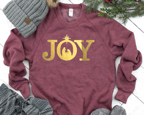 JOY Shiny Foil Fleece Raglan Sweatshirt