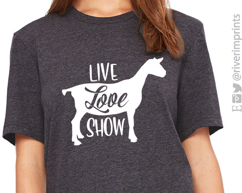 LIVE LOVE SHOW GOAT Graphic Triblend Tee by River Imprints