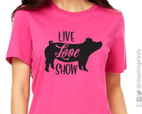LIVE LOVE SHOW Pig Graphic Triblend Tee by River Imprints