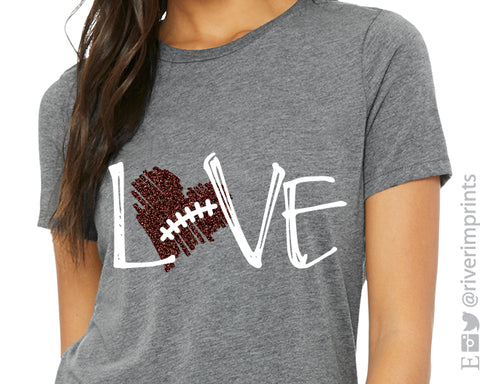 LOVE FOOTBALL Triblend Glitter Graphic Tee