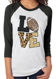 LOVE FOOTBALL Sublimated Triblend Raglan Tee by River Imprints