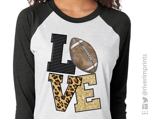 LOVE FOOTBALL Sublimated Triblend Raglan by River Imprints