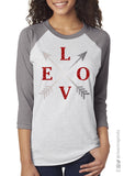 LOVE Arrow Glittery Triblend Raglan