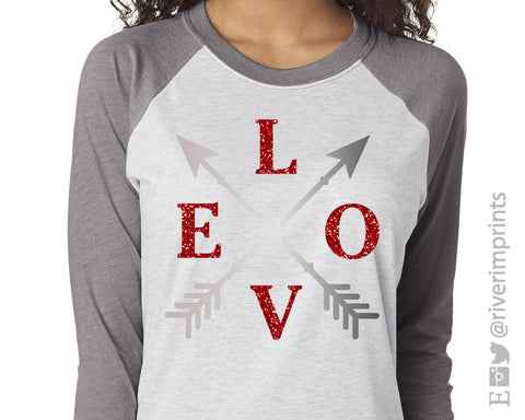 LOVE Arrow triblend Valentine's Day 3/4 sleeve raglan shirt