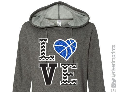 LOVE BASKETBALL Glittery Hooded Sweatshirt or Tee by River Imprints