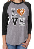 LOVE BASKETBALL Chevron Glittery Triblend Raglan Tee by River Imprints