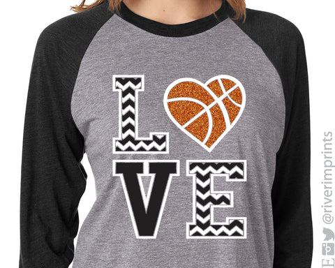 LOVE BASKETBALL Chevron Glittery Triblend Raglan