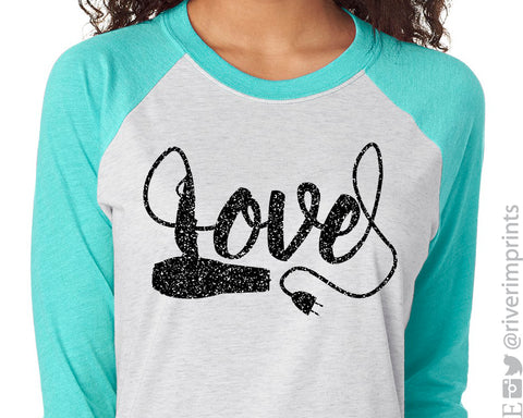 LOVE HAIR Glittery Triblend Raglan by River Imprints