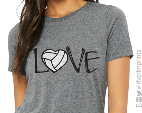 LOVE VOLLEYBALL Glitter Triblend Tee by River Imprints