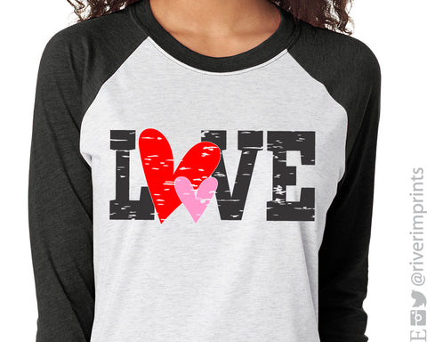 LOVE Distressed Heart Raglan Unisex Valentine's Day Triblend Tee