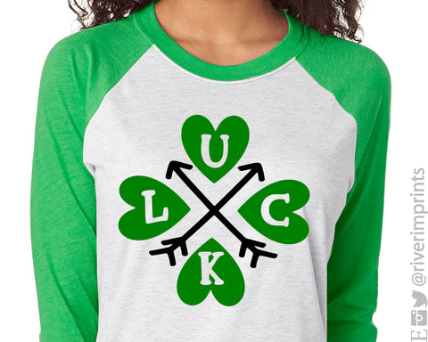 LUCK Arrows St Patrick's Day Raglan