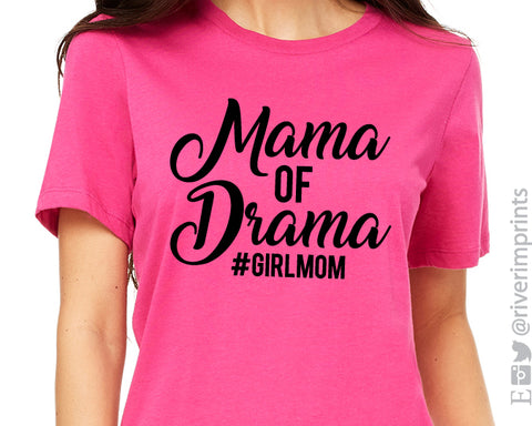 MAMA OF DRAMA #GIRLMOM Graphic Triblend Tee by River Imprints
