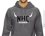 NHC AGGIES Hoodie with Horns Aggie School Mascot Performance Hooded Sweatshirt