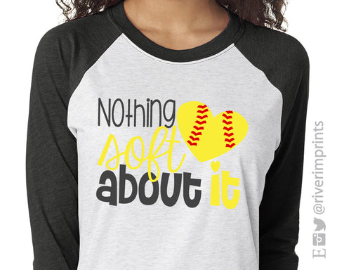 NOTHING SOFT ABOUT IT Triblend Raglan by River Imprints