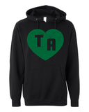 TA HEART Distressed Hoodie Dragons School Mascot Midweight Hooded Sweatshirt