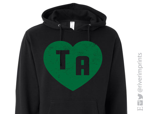 TA HEART Distressed Midweight Hooded Sweatshirt by River Imprints
