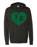 TA HEART DISTRESSED Hoodie Dragons School Mascot Lightweight Hooded Tee Shirt