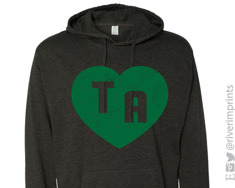 TA HEART DISTRESSED Lightweight Hooded Tee by River Imprints