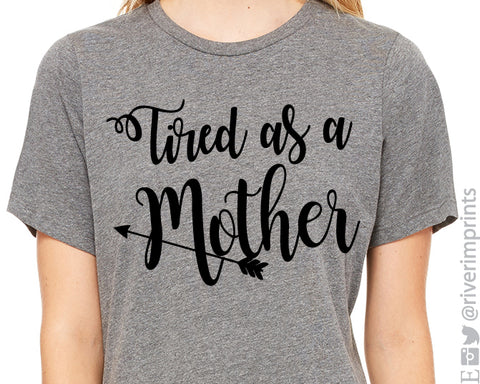 TIRED AS A MOTHER Arrow Graphic Triblend Tee by River Imprints