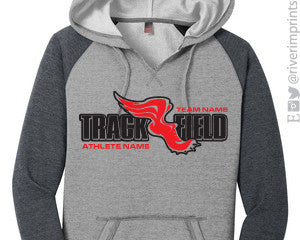 TRACK & FIELD Personalized Raglan Vneck Ladies Hoodie