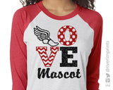 LOVE Track & Field Personalized Glittery Triblend Raglan by River Imprints