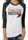 TRACK & FIELD MOM Glittery Triblend Raglan Tee by River Imprints