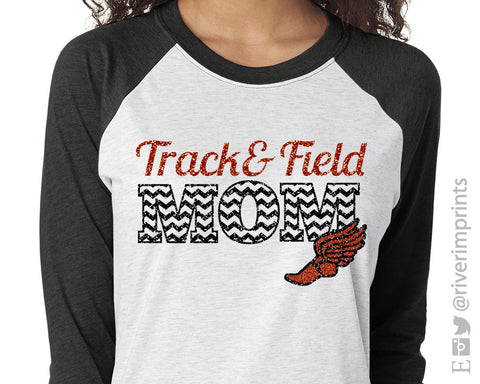 TRACK & FIELD MOM Glittery Triblend Raglan by River Imprints