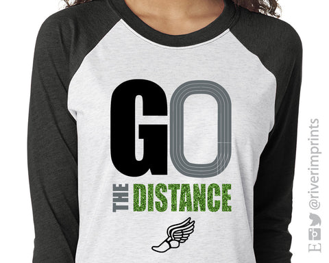 GO THE DISTANCE Track & Field Glittery Triblend Raglan by River Imprints