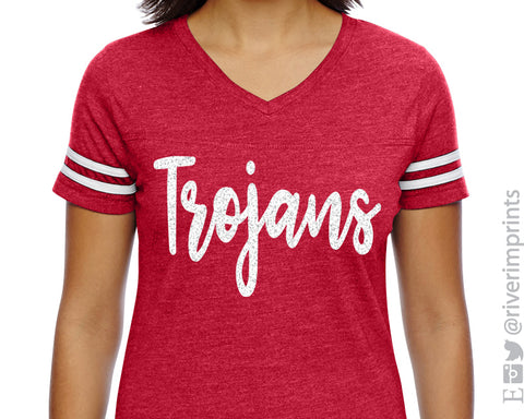 TROJANS Womens Glitter Striped Sleeve Shirt V-neck Blend Tee Ladies Trojan School Mascot Glittery Vneck Tee Shirt
