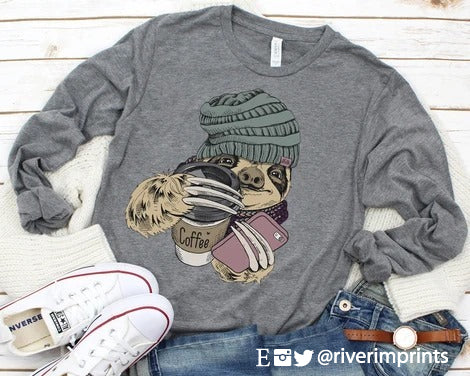 WINTER SLOTH Graphic Blend Long Sleeve Tee Shirt