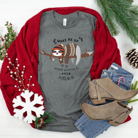 WAKE ME WHEN CHRISTMAS IS OVER Christmas Long Sleeve Tee Shirt