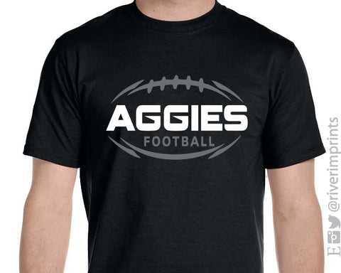 AGGIES FOOTBALL Triblend Graphic Tee by River Imprints