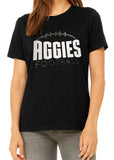 AGGIES Rhinestone and Glitter Womens Aggie School Mascot Cotton Tee Shirt