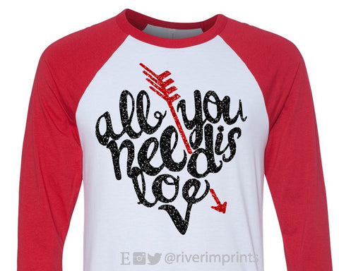 All You Need Is Love Arrow Glittery 3/4 sleeve raglan shirt