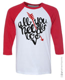 ALL YOU NEED IS LOVE Arrow Glittery Raglan T-Shirt