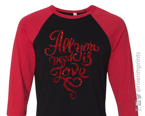 All You Need Is Love Glittery Raglan Unisex Valentine's Day Triblend Tee