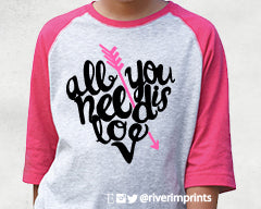 ALL YOU NEED IS LOVE Youth Glittery Blend Raglan