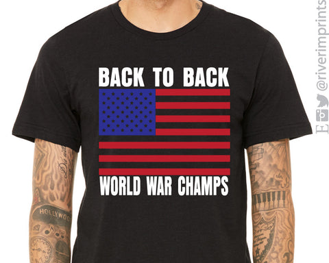 BACK TO BACK WORLD WAR CHAMPS Graphic Triblend Tee