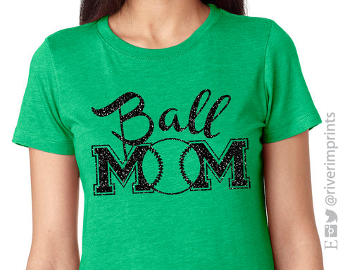 BALL MOM Glittery Cotton Tee River imprints