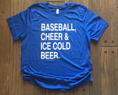 SALE - BASEBALL, CHEER & ICE COLD BEER Triblend Tee Shirt